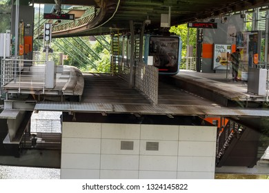 WUPPERTAL; NRW; GERMANY - JULY 31;  Suspension railway in the station Wuppertal Vohwinkel.Die Hochbahn is used for public transport.
