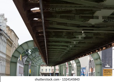WUPPERTAL; NRW; GERMANY - JULY 31; 2017: The supporting framework of the Wuppertaler suspension railway