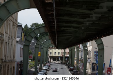 WUPPERTAL; NRW; GERMANY - JULY 31; 2017: The supporting framework of the Wuppertaler suspension railway consists of a steel framework with inclined supports eppelträger.
