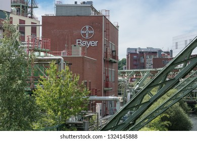 WUPPERTAL; NRW; GERMANY - JULY 31; The Bayer AG plants located in Wuppertal Elberfeld on both sides of the river Wupper develops and produces pharmaceutical products.