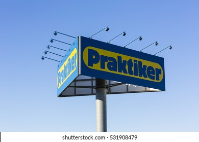 WURSELEN, GERMANY NOVEMBER 10, 2013: logo of Praktiker of their market in Germany. Praktiker was a hypermarket chain filed for insolvency in 2013.