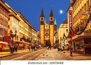 WURZBURG, BAVARIA, GERMANY - DECEMBER 23, 2012: Christmas Wurzburg with cathedral St. Kilian at night, Bavaria, Germany