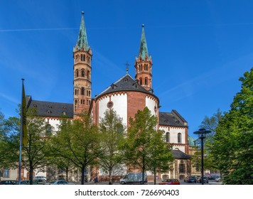 Wurzburg Cathedral is a Roman Catholic cathedral in Wurzburg in Bavaria, Germany, dedicated to Saint Kilian. View from apse