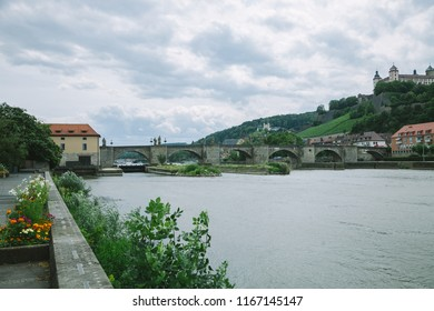 WURZBURG, GERMANY - 28 JUNE 2018: old historical Marienberg Fortress on hill near Main River in Wurzburg, Germany
