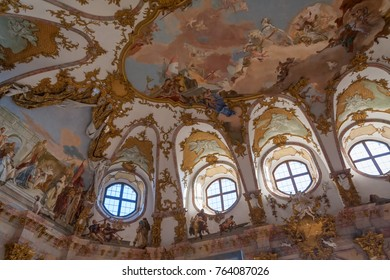 WURZBURG/ GERMANY - DECEMBER 14, 2008: Magnificent ceiling painting and stucco work in White Hall of Wurzburg Residence on December 14, 2008 in Wurzburg.