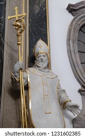 WURZBURG, GERMANY - JULY O4, 2018: Saint Otto von Bamberg statue on the Provost's altar in Wurzburg Cathedral dedicated to Saint Kilian, Bavaria, Germany