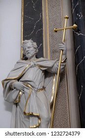 WURZBURG, GERMANY - JULY O4, 2018: Saint Philip statue on the Provost's altar in Wurzburg Cathedral dedicated to Saint Kilian, Bavaria, Germany