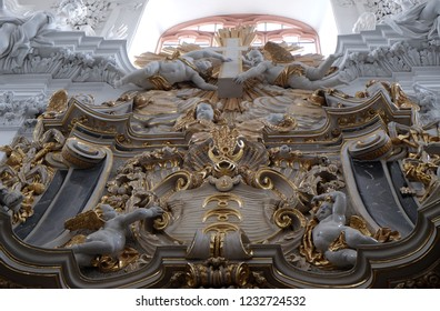 WURZBURG, GERMANY - JULY O4, 2018: Angels statues on the The Dean's Altar in Wurzburg Cathedral dedicated to Saint Kilian, Bavaria, Germany