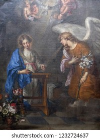 WURZBURG, GERMANY - JULY O4, 2018: The painting is of the Annunciation by Oswald Onghers in Wurzburg Cathedral dedicated to Saint Kilian, Bavaria, Germany
