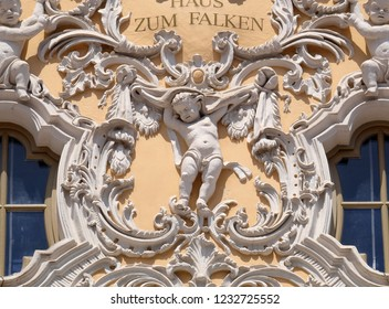 WURZBURG, GERMANY - JULY O4, 2018: Angel, House of Falcon, the finest Rococo style building in the Wurzburg, Germany