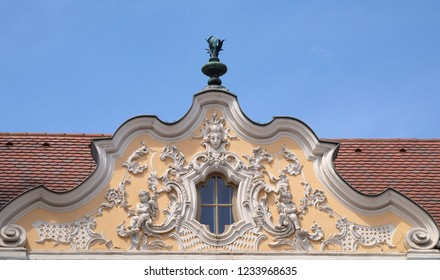 WURZBURG, GERMANY - JULY O4, 2018: House of Falcon, the finest Rococo style building in the Wurzburg, Germany