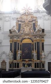 WURZBURG, GERMANY - JULY O4, 2018: The Dean's Altar in Wurzburg Cathedral dedicated to Saint Kilian, Bavaria, Germany