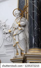 WURZBURG, GERMANY - JULY O4, 2018: Saint Joseph statue on the The Dean's Altar in Wurzburg Cathedral dedicated to Saint Kilian, Bavaria, Germany