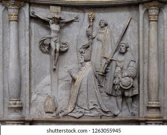 WURZBURG, GERMANY - JULY O4, 2018: Epitaph for Bishop Konrad von Thungen in Wurzburg Cathedral dedicated to Saint Kilian, Bavaria, Germany