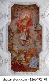 WURZBURG, GERMANY - JULY O4, 2018: Ascension of Christ  ceiling fresco in Neumunster Collegiate Church in Wurzburg, Germany