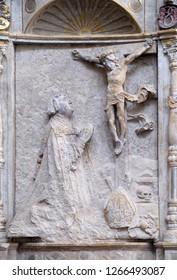 WURZBURG, GERMANY - JULY O4, 2018: Memorial to the Bishop Konrad von Bibra in Wurzburg Cathedral, Bavaria, Germany