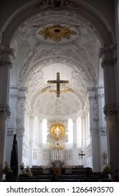 WURZBURG, GERMANY - JULY O4, 2018: Cathedral in Wurzburg, Bavaria, Germany, dedicated to Saint Kilian