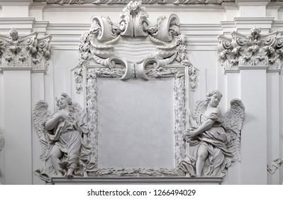 WURZBURG, GERMANY - JULY O4, 2018: Stucco decoration in Wurzburg Cathedral dedicated to Saint Kilian, Bavaria, Germany