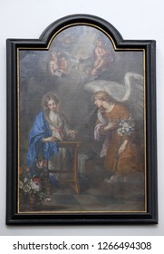 WURZBURG, GERMANY - JULY O4, 2018: The painting of the Annunciation by Oswald Onghers in Wurzburg Cathedral dedicated to Saint Kilian, Bavaria, Germany