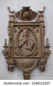 WURZBURG, GERMANY - JULY O4, 2018: Memorial to the Cathedral provost Franz Ludwig Faust von Stromberg in Wurzburg Cathedral, Bavaria, Germany