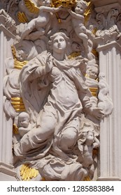 WURZBURG, GERMANY - JULY O4, 2018: Virgin Mary, House of Falcon, the finest Rococo style building in the Wurzburg, Germany