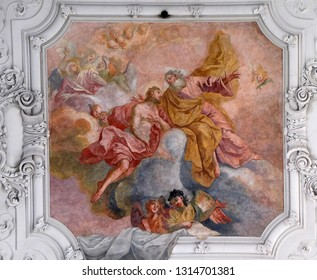 WURZBURG, GERMANY - JULY O4, 2018: Jesus returns to His Father in heaven, fresco in Neumunster Collegiate Church in Wurzburg, Germany