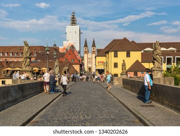 Wurzburg, Germany - June 28th 2016 - located on the Main river, Wurzburg is a popular tourist destination. Here in particular the Old Town, a Unesco World Heritage