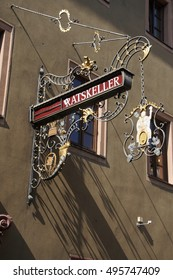 WURZBURG, GERMANY - SEP 12, 2016 - Ratskeller restaurant street sign in  Wurzberg, Germany