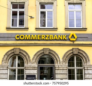Wurzburg, Germany - SEP 2, 2017: Commerzbank branch. Commerzbank AG is one of the largest banks in Germany, it is active in commercial banking, retail banking and mortgaging