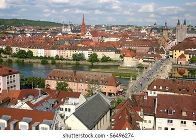 Wurzburg on the river Main. A bird's eye view.