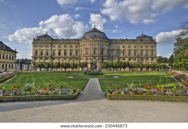 The Wurzburg Residence building and formal garden in Wurzburg, Germany