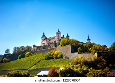 Wurzburg, view with vineyrds and castle. Authentic beautiful towns of Germany. Northen Bavaria, Germany.