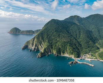 Wushihbi Coast Landscape Aerial View - Famous natural spot of Yilan, Taiwan. Birds eye view use the drone in morning bright sunlight.