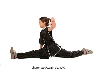 Wushu girl makes splits
