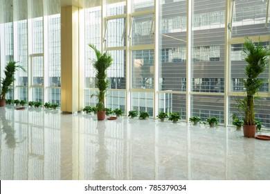 Wuxi, China - May 17, 2017: glass corridor in office centre, wuxi city,Jiangsu province, in china