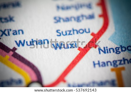 Wuxi China On Geographical Map Stock Photo Edit Now 537692143