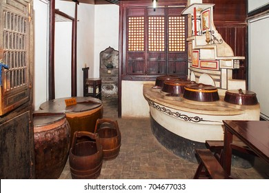 Wuzhen, China - June 24, 2016: Old Chinese kitchen. Wuzhen water village is Shanghai tourist attraction with more than 100000 visitors per year. Wuzhen is part of Tongxiang, Zhejiang Province, China.