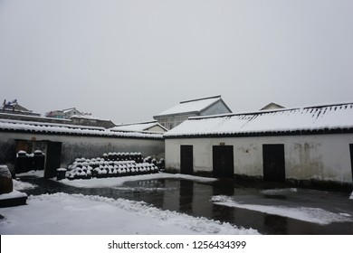 Wuzhen, a famous CHinese trsditional historical water town. The place for World Internet Congress. It is the scenery of it when winter comes.
