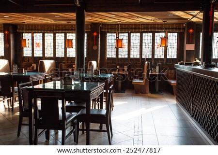 Wuzhen China February 82015 Traditional Chinese Restaurant Interior