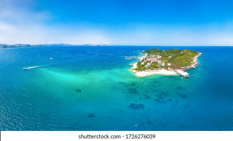 Wuzhizhou Island Aerial View, a Tropical Island Paradise with Resort and Recreational Beach for Sightseeing and Water Activities off the Shore of Haitang Bay, Sanya City, Hainan Province, China.