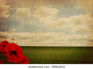WW1 Abstract Background with Poppies