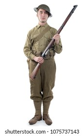 WW1 British Army Soldier from France 1918, isolated on white background