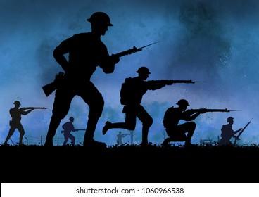 WW1 British soldiers silhouette. Battlefield.