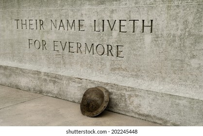 WW1 - Stone Of Remembrance With Helmet