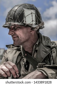 WW2 American G.I. Medic, battle fatigue, reenactor