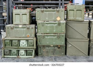WW2 Ammo Boxes,Pile of vintage metal boxes