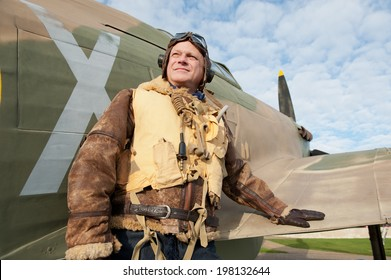 WW2 Fighter Pilot With Hurricane Aircraft