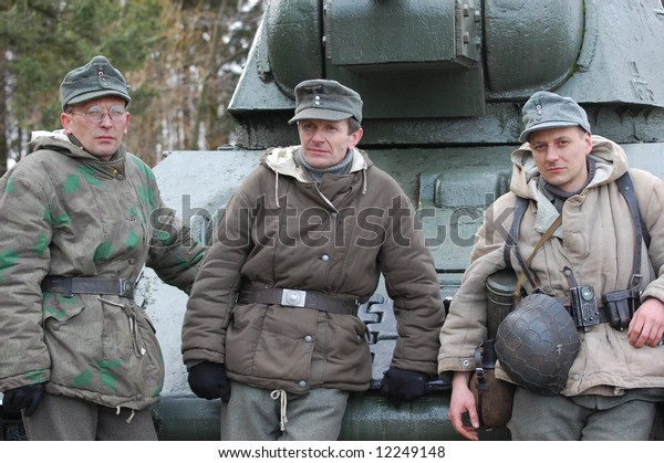 Ww2 German Soldiers Near Soviet Tank Stock Photo (Edit Now