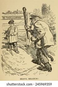 WWI. Bravo Belgium! 'Punch' humor magazine cartoon celebrates the resistance of Belgium against the German invasion at the beginning of WWI. 1914.