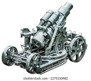 WWI heavy siege Howitzer gun Škoda 305 mm, model 1911, rear view, with gun carriage, breech block, bevel gear, hydraulic recoil compensator and large barrel. The image is isolated on white background